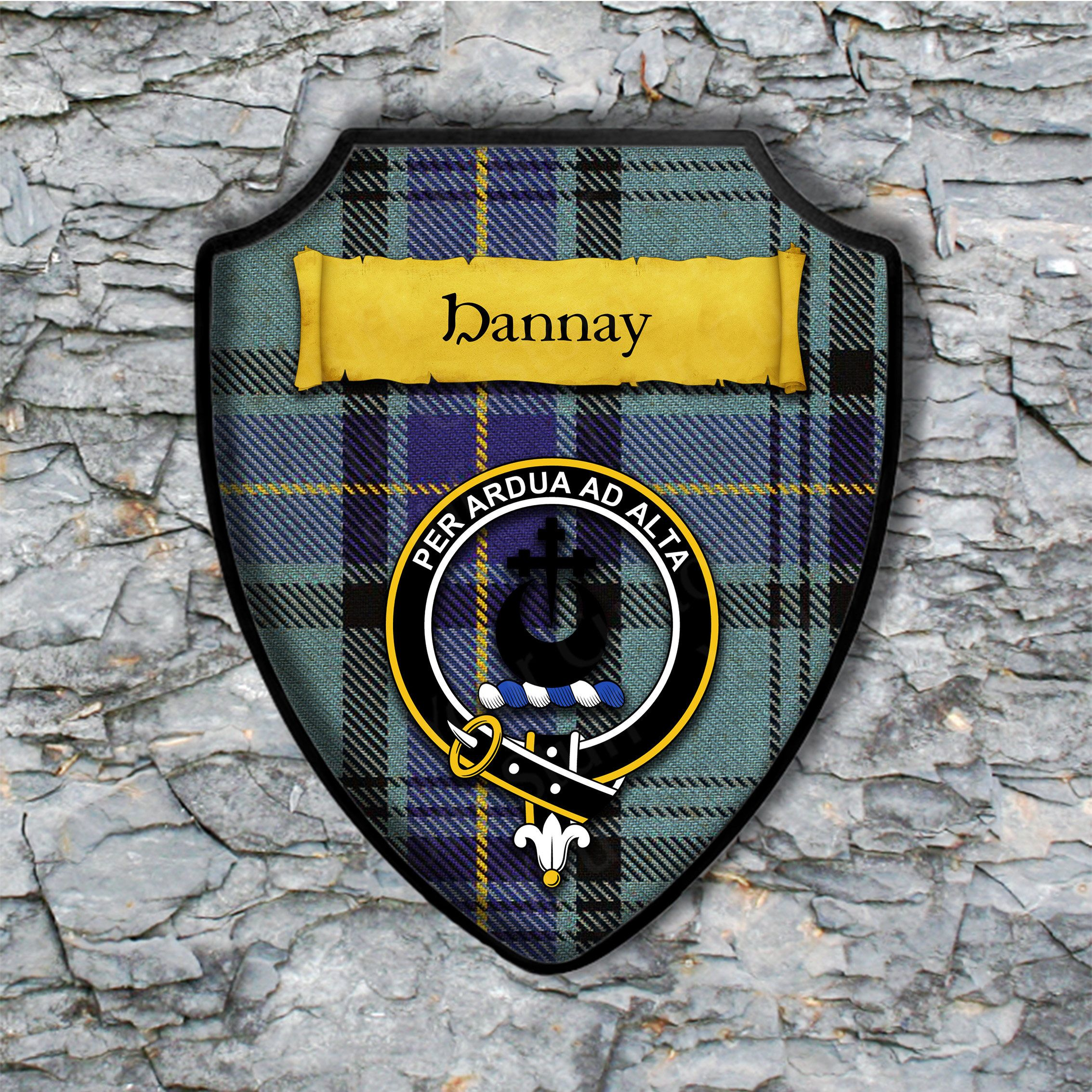 Hannay Plaque with Scottish Clan Badge on Clan Tartan Background by YourCustomStuff on Etsy https://www.etsy.com/listing/514878078/hannay-plaque-with-scottish-clan-badge