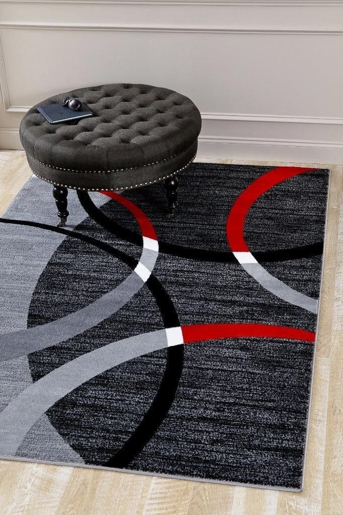 Gray Red Abstract Modern Geometric Area Rugs For Living Room Bedroom Bargain Area Rugs Chairforlivingroom With Images Elegant Living Room Bargain Area Rugs Room Rugs