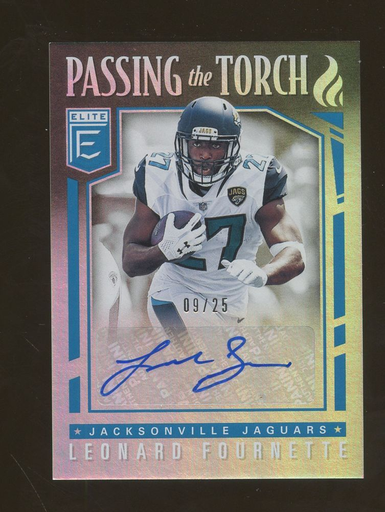 2018 Elite Passing The Torch Leonard Fournette Rc Rookie Auto 9 25 Jaguars Footballcards Football Cards Jaguars Baseball Cards