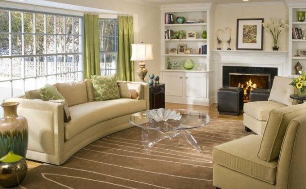 wohnzimmer beige stilvoller teppich grüne gardinen cooler couchtisch ...