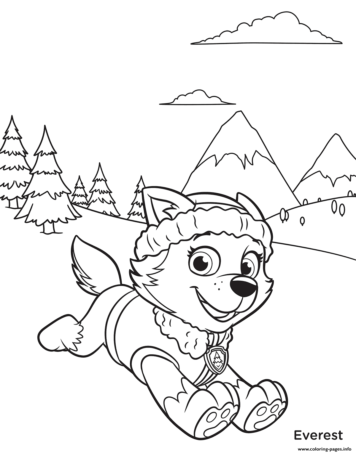 Print Paw Patrol Everest In Mountains Coloring Pages Paw Patrol Coloring Pages Paw Patrol Coloring Halloween Coloring Pages