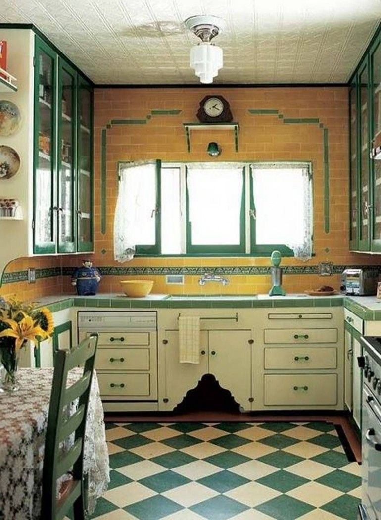 Green Checkered Flooring For Kitchen Island | บ้าน | Pinterest
