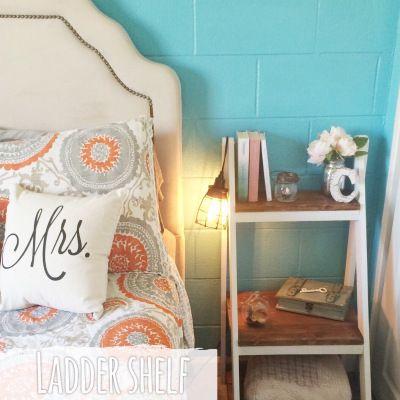 D I Y Ladder Shelf Bedside Table Home Decor Bedroom