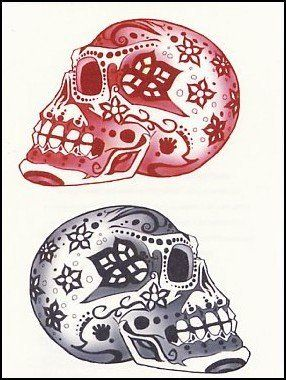 7c60ca6e7 Pink & Black Day of Dead Skulls Temporaray Tattoo by Tattoo Fun. $3.95.  This is a Temporary tattoo of two day of the dead sugar skulls one black  and white ...