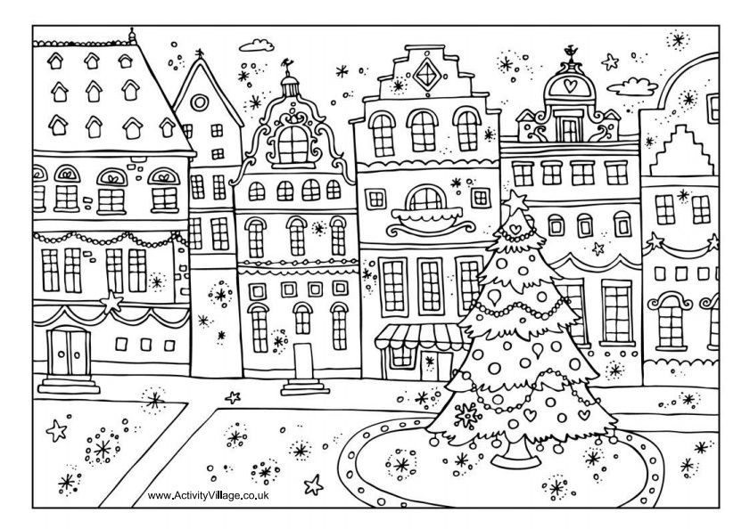 Miss Young S Art Room 2nd Grade Value Cities Christmas Coloring Books Free Christmas Coloring Pages Colouring Pages