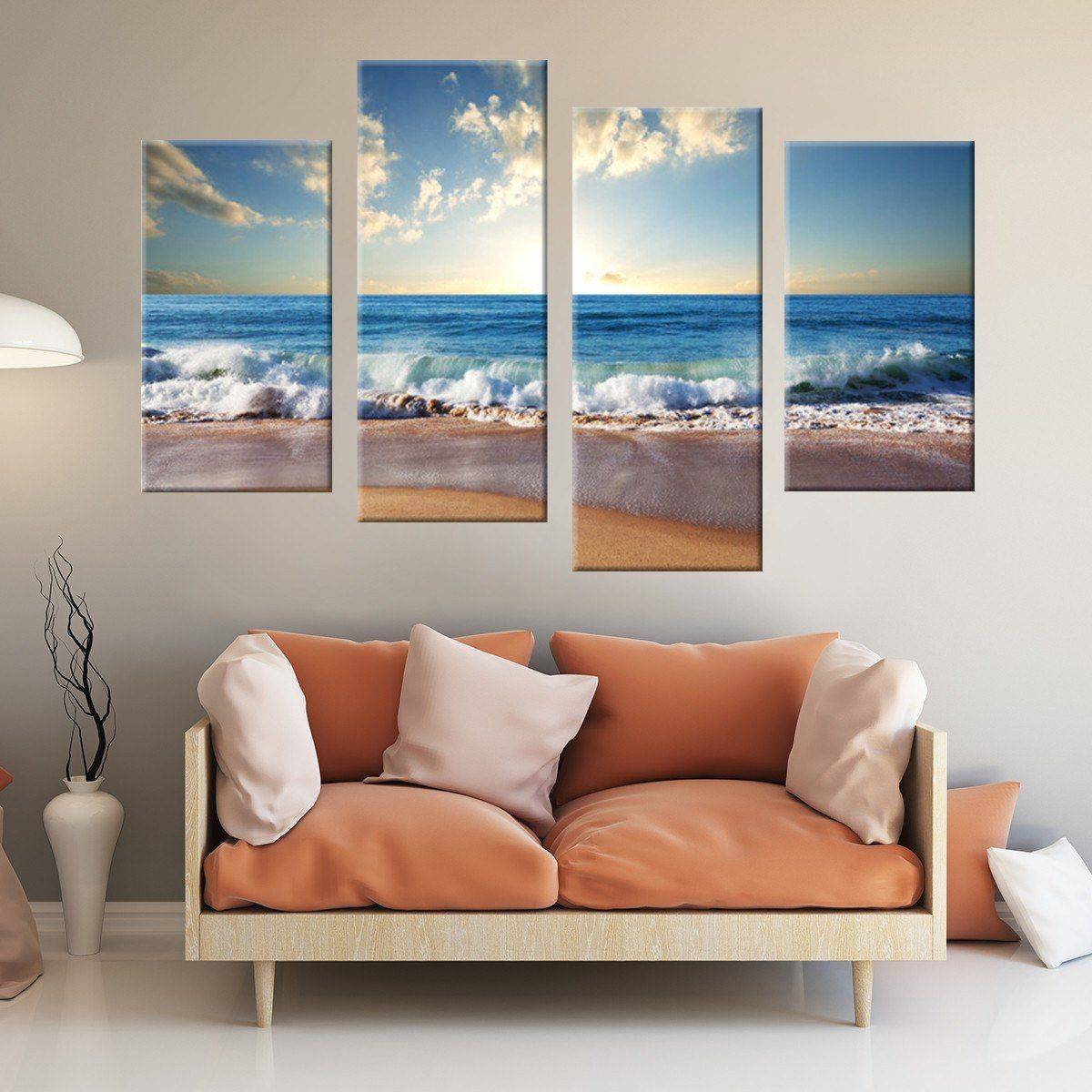 Crashing Waves 4 Piece Staggered Canvas Wall Art Canvas Wall Art Set Cheap Canvas Wall Art Canvas Wall Art