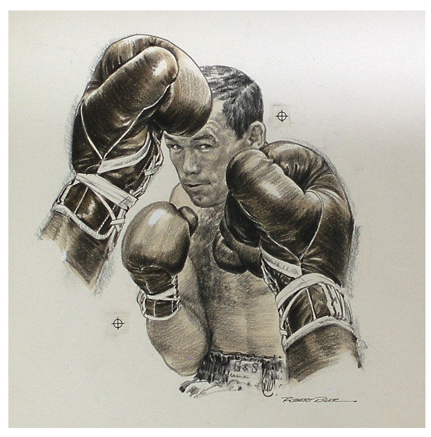 Robert Riger, Ingemar Johansson, SI sketch, 1960. Boxing