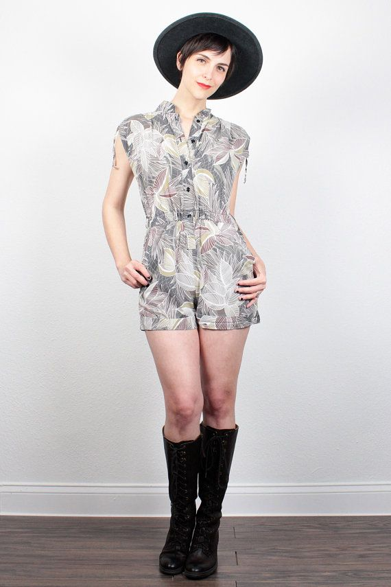 013aac28fb1 Vintage 80s Romper Tan Brown LEAF Print Playsuit 1980s Jumper Shorts Outfit  Safari One Piece Shortalls