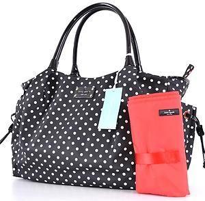 Kate Spade Stevie Spot Polka Dot Black Cream Nylon Baby Diaper Bag Purse Ebay