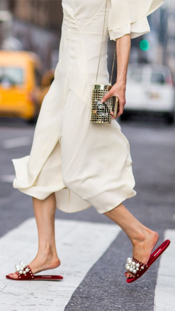 We love many things, but not as much as pearl embellished sandals for the perfect streetstyle look.