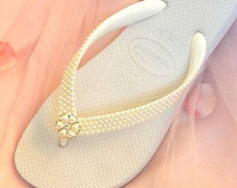 17c8ac7e800ad2 ... Custom Wedding Shoes Ivory White Pearls Rock w Swarovski Crystal Beach Flip  Flops Havaîanas or cozy  BRIDAL ...
