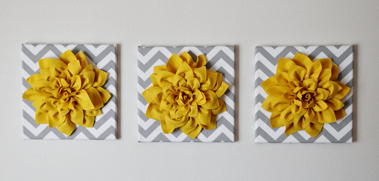 THREE - Wall Flower -Mellow Yellow Dahlia on Gray and White Chevron ...