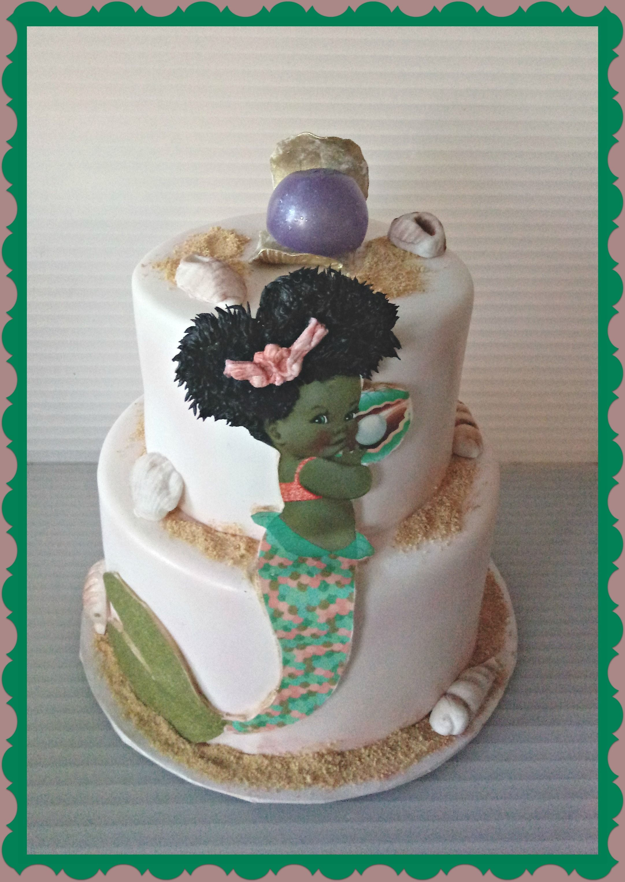 Afro Puff Mermaid Baby Shower Cake