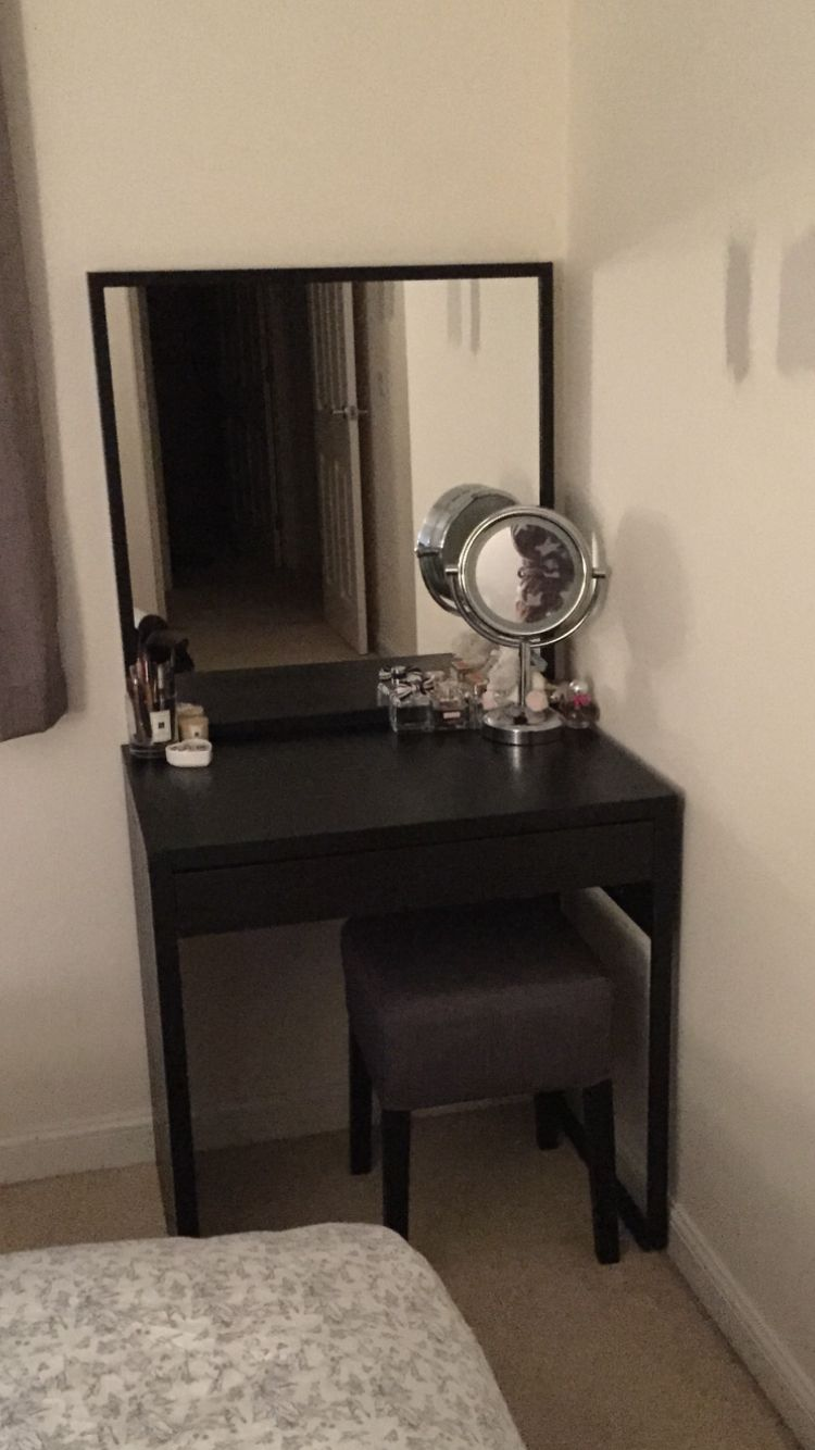 The Finished Product Ikea Micke Desk With Stave Mirror And Nils