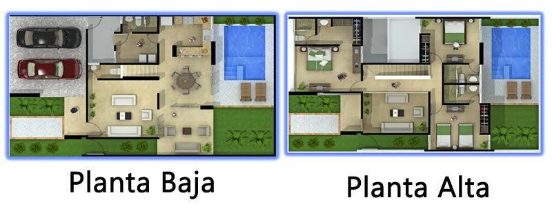 Plano de casa de con jardin y piscina planos fachadas y for Medidas de una piscina para una casa