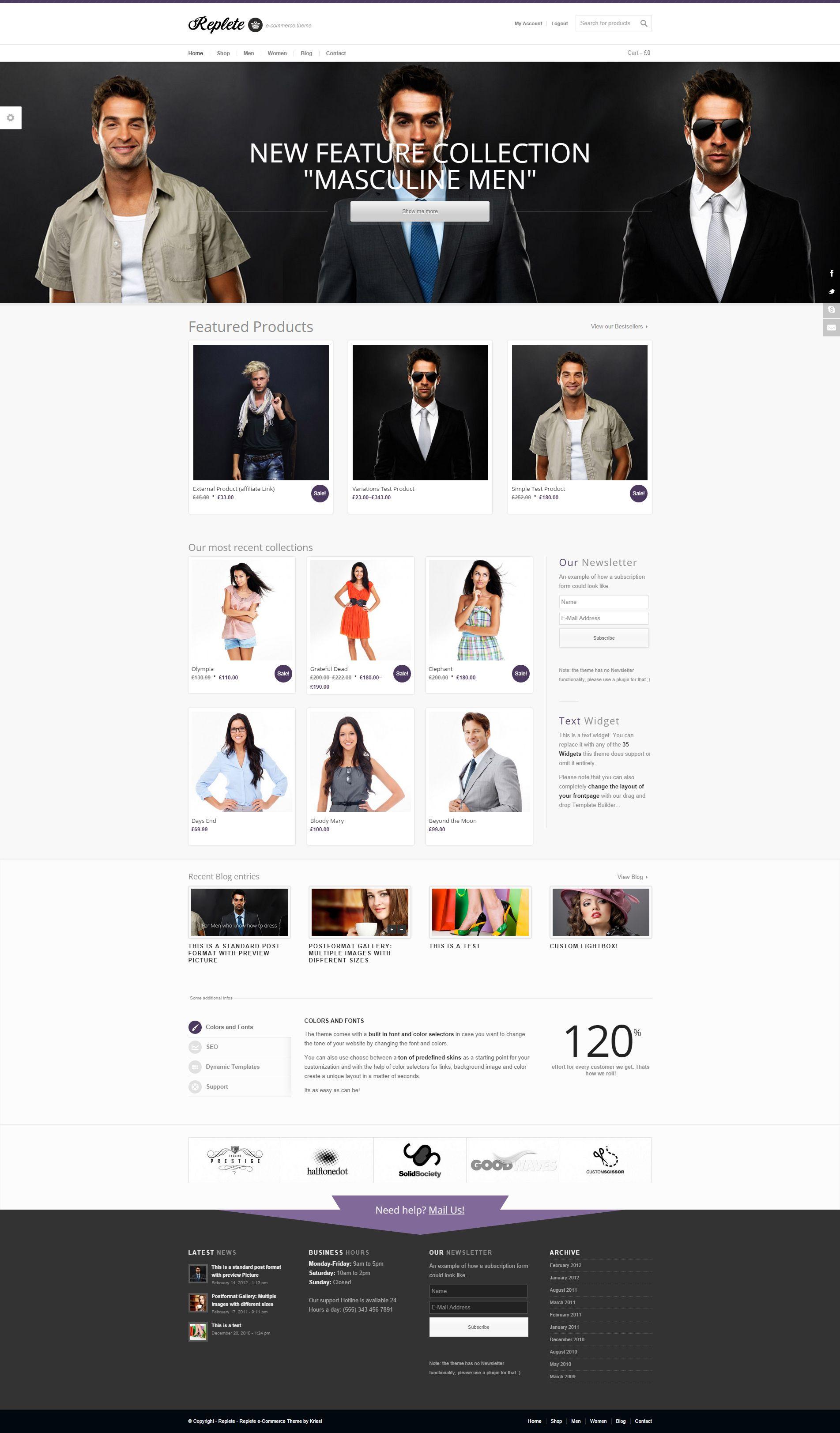 Template Responsive Parallax WordPress joomla Magento