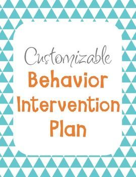 Behavior Intervention Plan Template BIP  Behavior