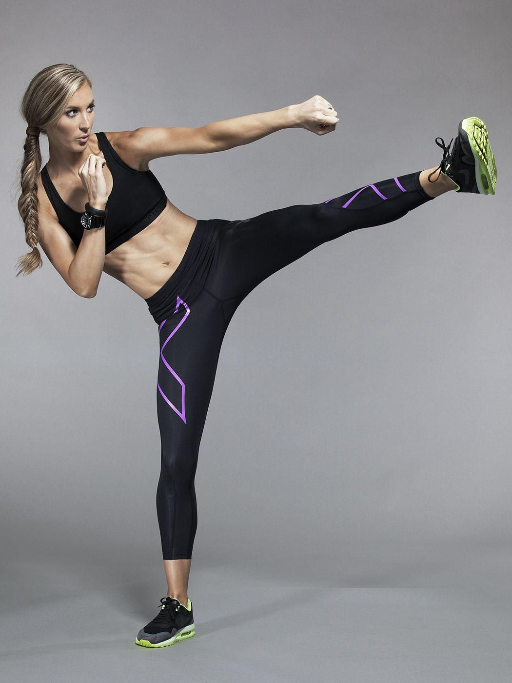 8029a3694edefa ... Workout Clothes and Gear, Activewear, and Swimwear by at. 2XU  Compression Tights in Black/Purple Lacquer