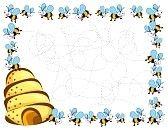 colmenas dibujos animados ocupado abejas marco