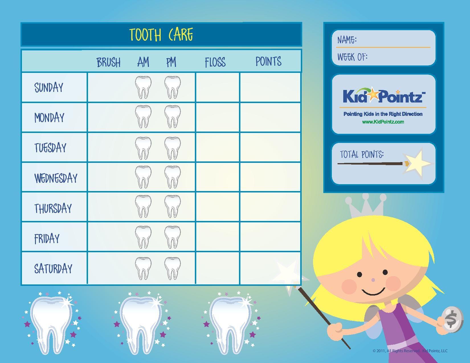 Dental Hygiene Chart For Kids 1 650 1 275 Pixels