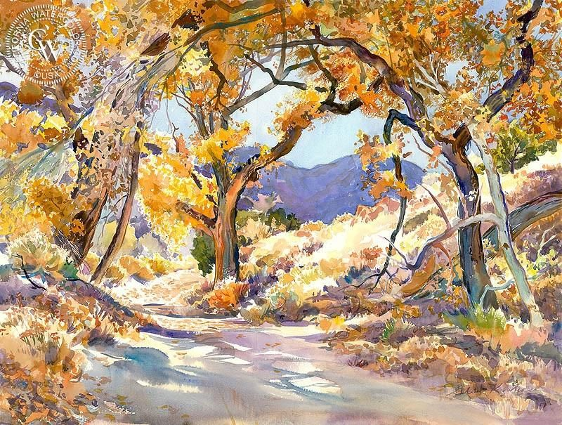 A Road Through The Trees Landscape Paintings Watercolor