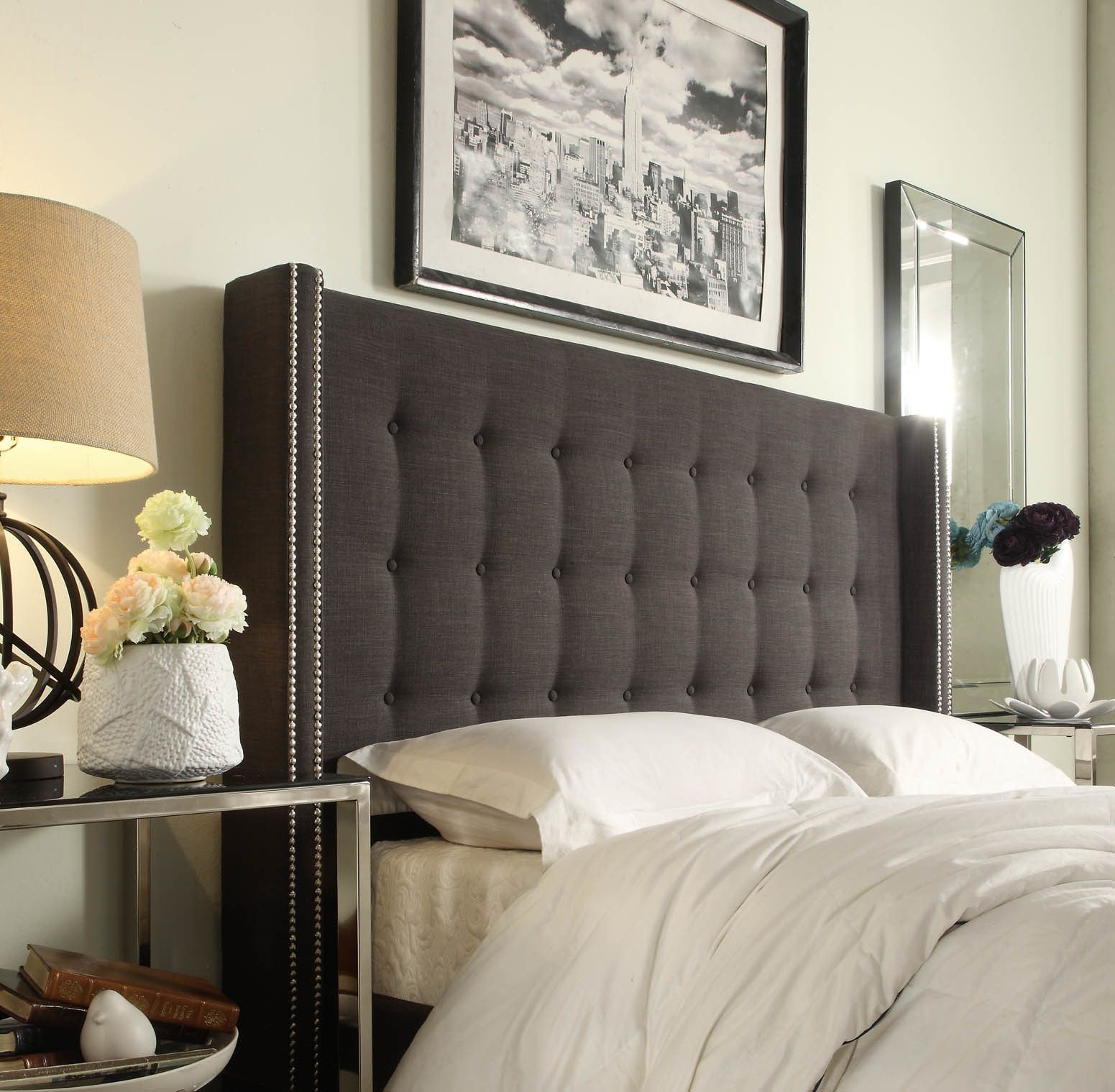 Marion Nailhead Wingback Button Tufted Full Size Headboard by Inspire Q ( Dark Grey Linen)