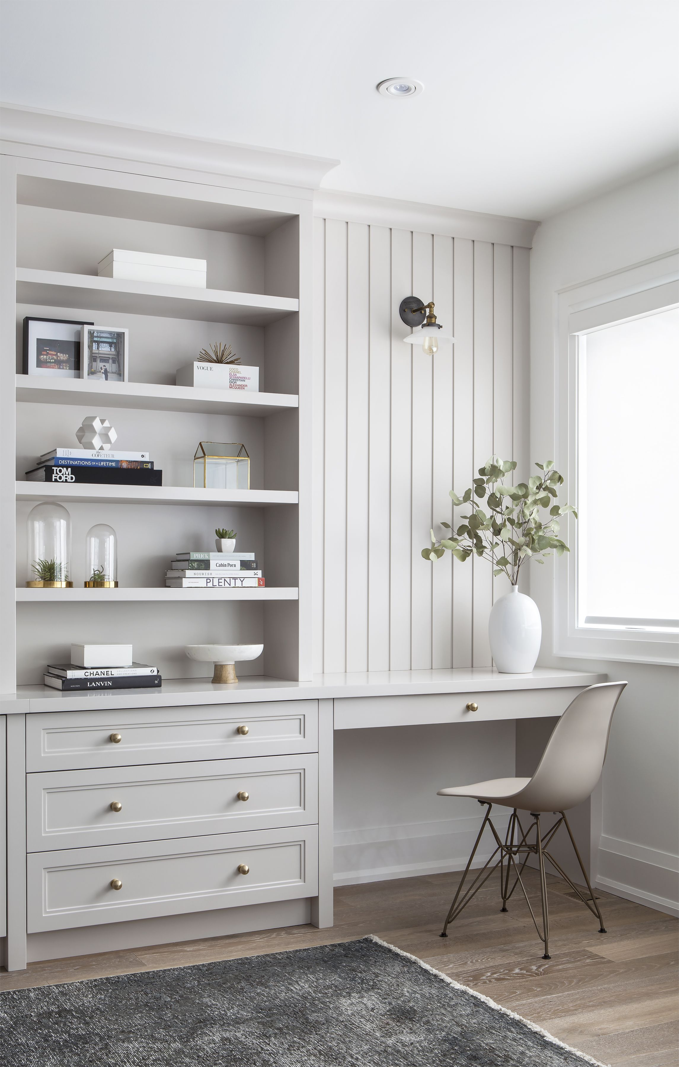 Built-in cabinets and desk in a Toronto family room. Shot ...