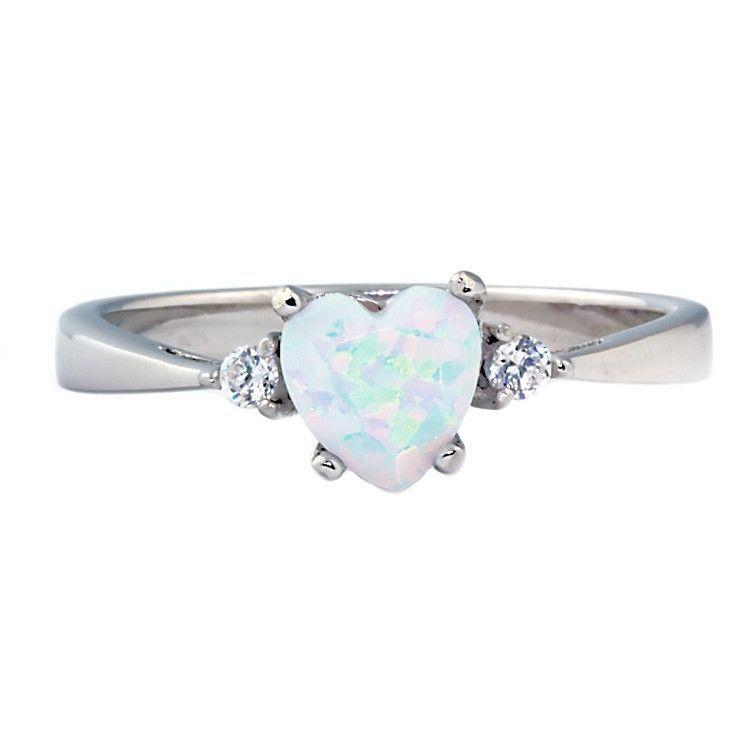 Olena 081ct Heart Cut Fiery White Opal Promise Friendship Ring