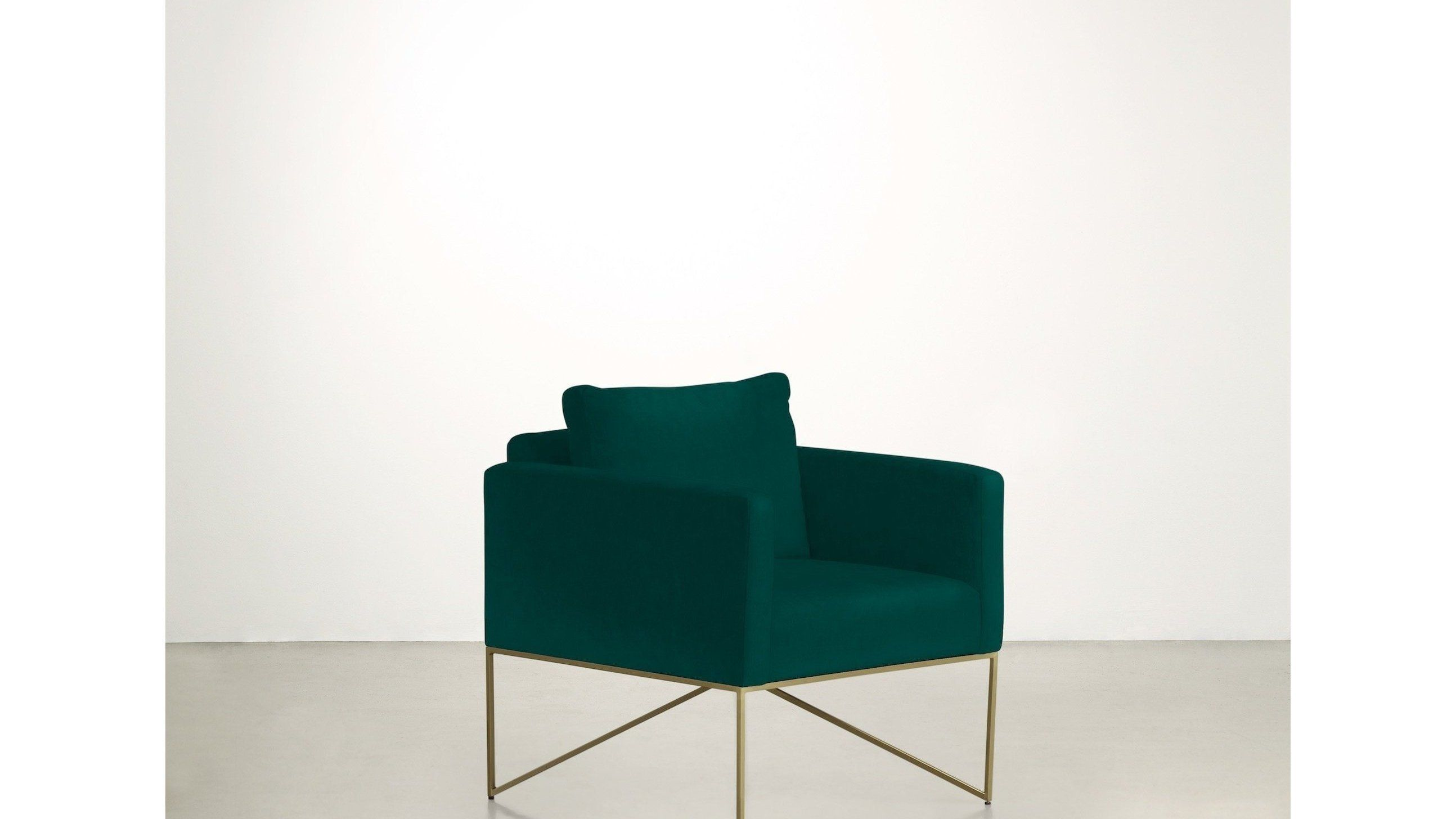 The Fascinator Accent Chair, Velvet Knit Peacock / Brass #fascinatorstyles