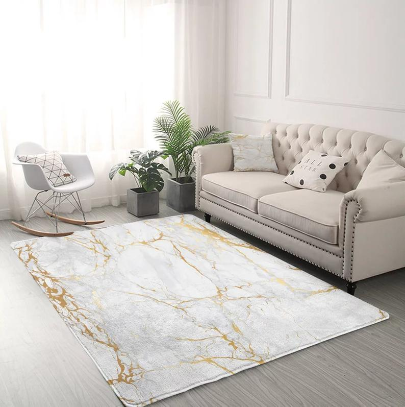 Marble Area Rug For Living Room Modern Gold Glitter Black Etsy In 2020 Rugs In Living Room Living Room Modern Gold Living Room
