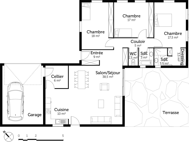 Plan maison plain pied avec 3 chambres et garage ooreka for Plan de maison 4 chambres plain pied