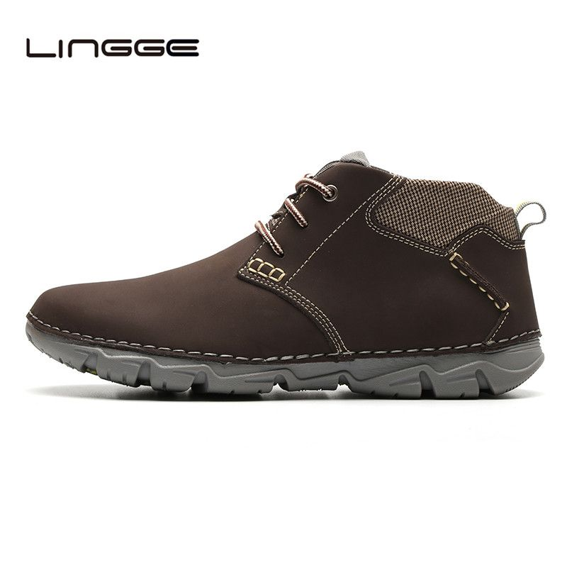 Winter Cow Leather Men's Boots Warm Fur Shoes Chukka Boots Fashion Handmade Ankle Boots