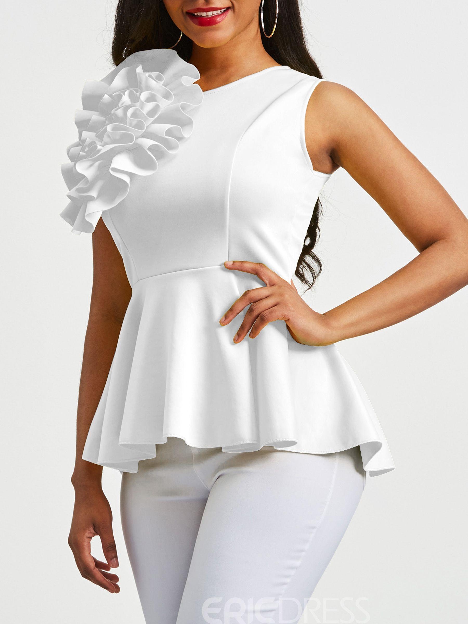 f695c103ee2396 Ericdress Applique Peplum Zipper Up Sleeveless Women's Top | causal ...