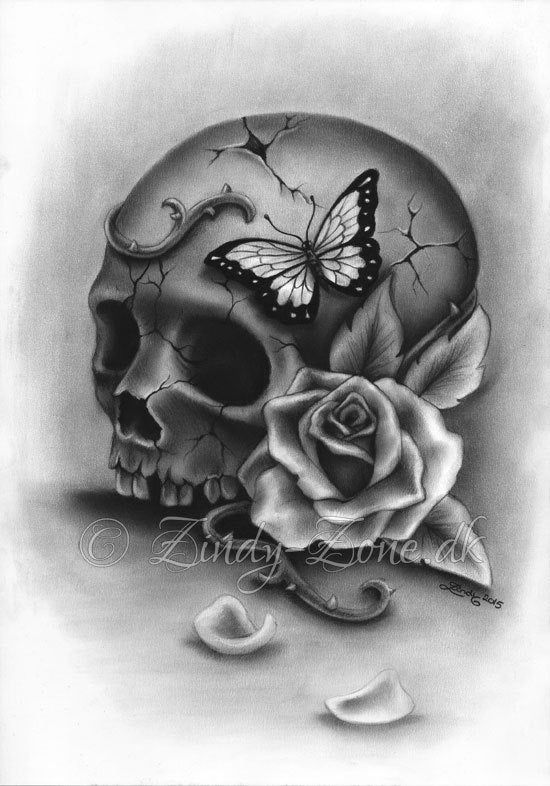 Beauty and Decay Skull Rose Thorns Butterfly Tattoo Art Print | Etsy