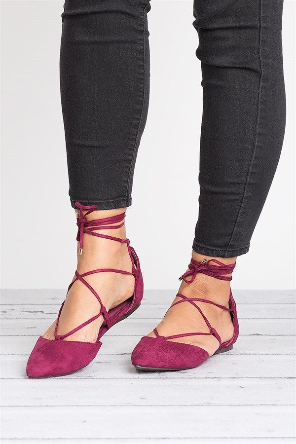 74f06727f2bf06 Lace Up Ballerina Flats