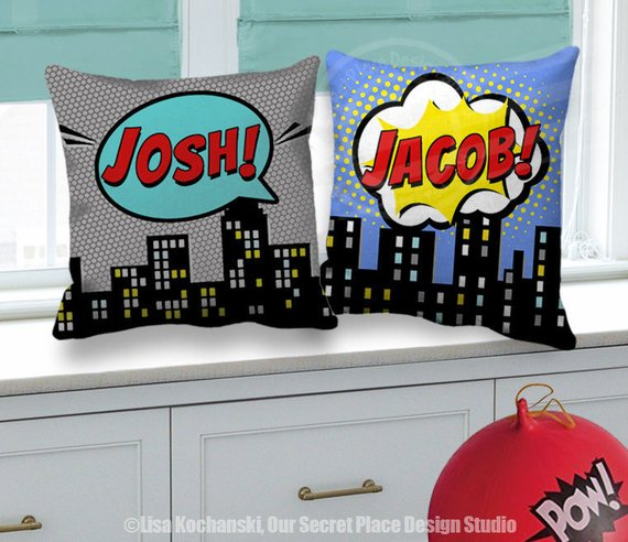 Personalized Superhero Pillow Cover Personalized Kids Pillow,