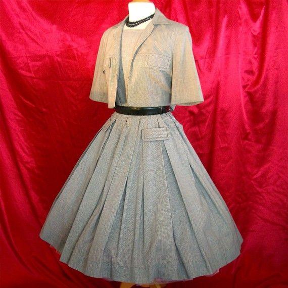 Full Skirt Dress and Jacket - Black White Gingham Check