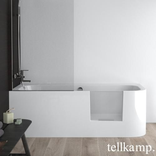 Photo of Tellkamp Salida Raumspar-Badewanne mit Duschzone und Verkleidung weiß glanz, ohne Füllfunktion