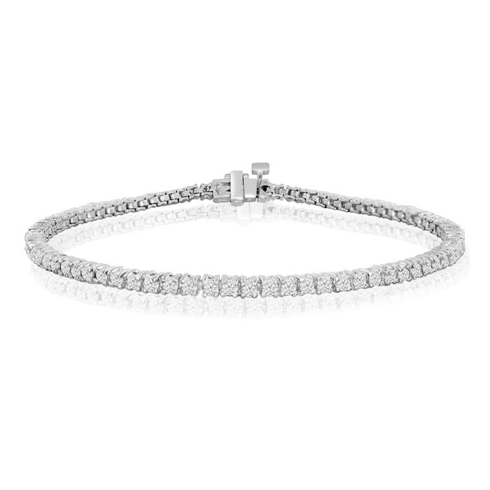 6 Inch 1 75ct Round Setting Diamond Tennis Bracelet In White Gold This
