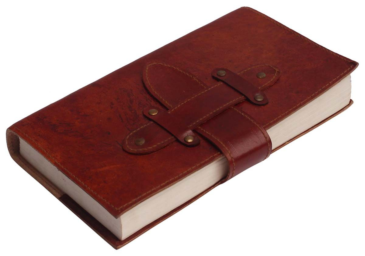 Recycled Leather Journal With Handmade Paper 7 Brown