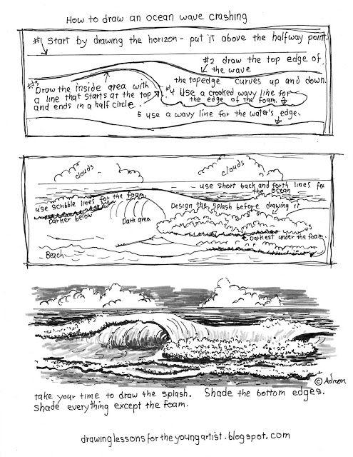 Printable How To Draw Ocean Waves Worksheet Ocean Drawing Drawing Ocean How To Draw Ocean Waves