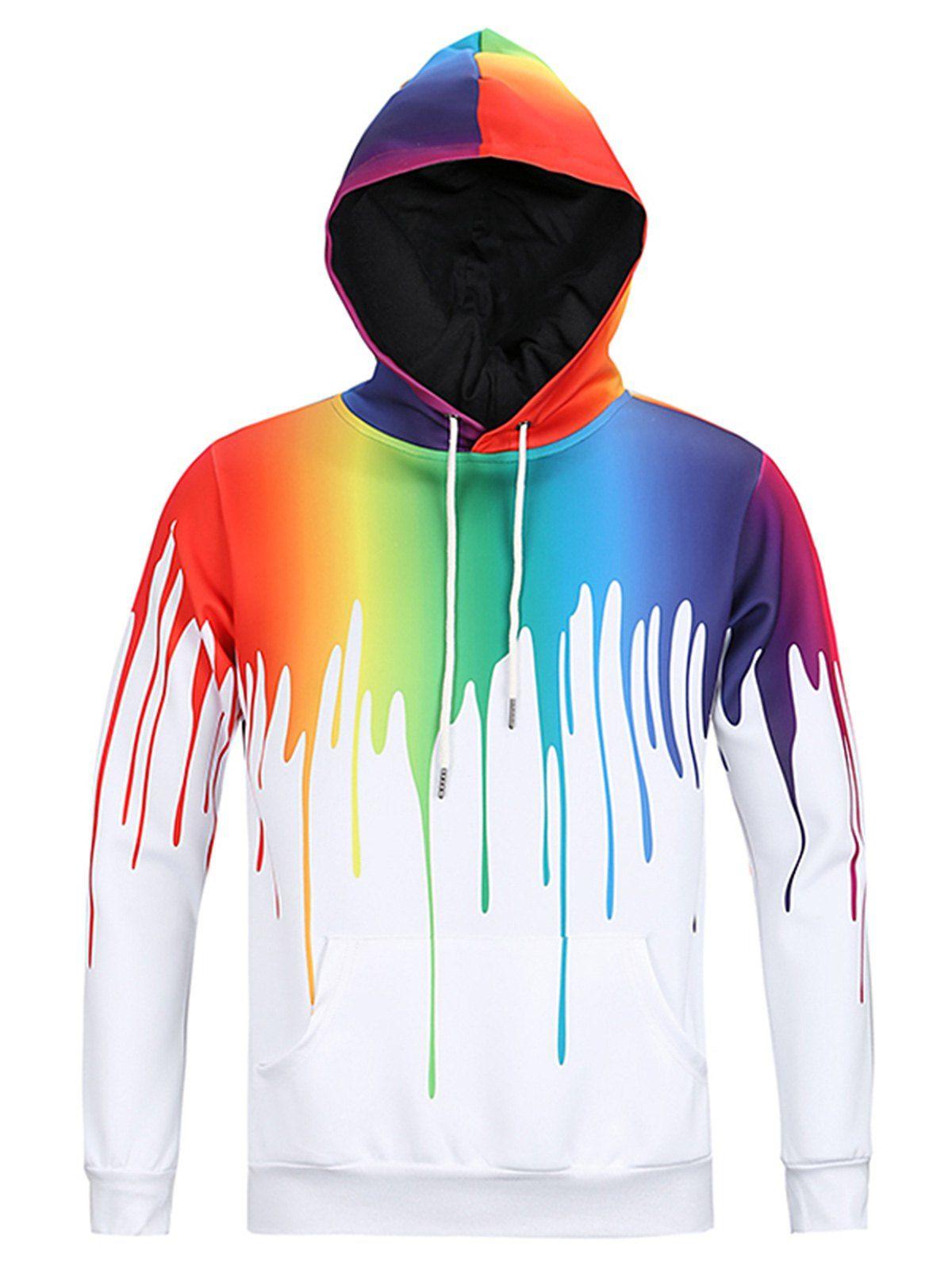 f2962e06 Drip Paint 3D Print Pullover Hoodie - COLORMIX 3XL Shirt Designs, Sweat  Shirt, Jumper
