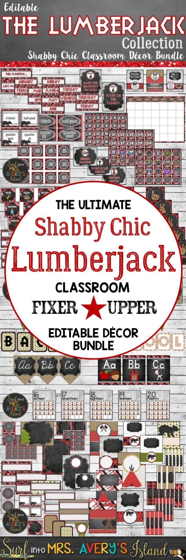 Give your classroom a shabby chic look with this editable Lumberjack Themed Classroom Decor Bundle, and welcome your students back to school in style!  Click here to discover over 600 pages of Back to School printables created with shiplap and burlap backgrounds to help elementary school teachers with all of their classroom management and organization needs.