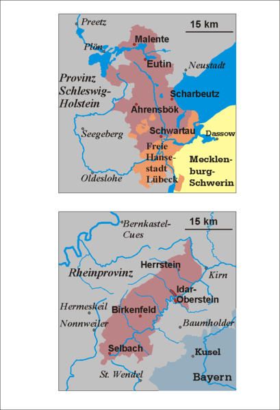 map of the two exclaves of oldenburg in weimar time birkenfeld and