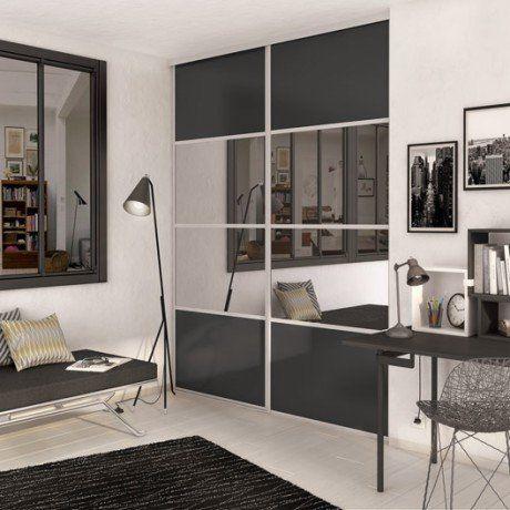 Porte de placard coulissante gris graphite   miroir SPACEO l987 x - porte coulissante style atelier