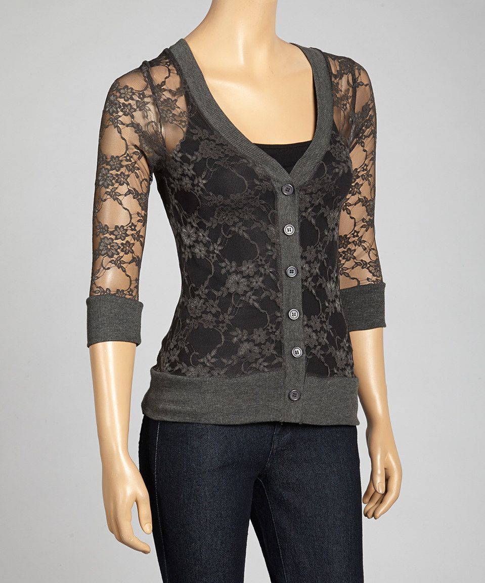 Zenana Charcoal Lace Cardigan   Best Charcoal ideas