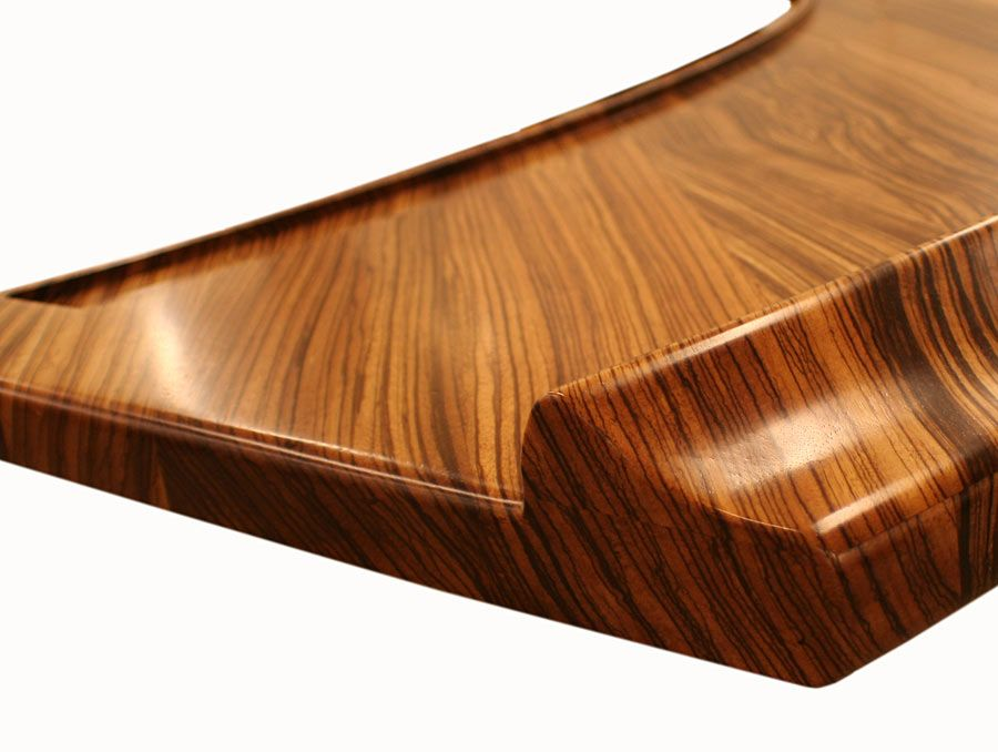 Beau Zebrawood Bar Top With Synthesis Bar Rail