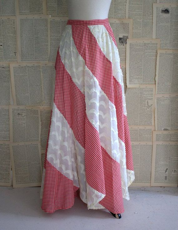 Get your Hippie on with this red/white/chenille 70s Maxi Skirt $46.00