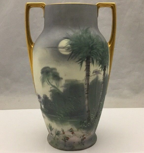 Hand Painted Handled Vase Pickard Mz Austria Marks Signed Curtis