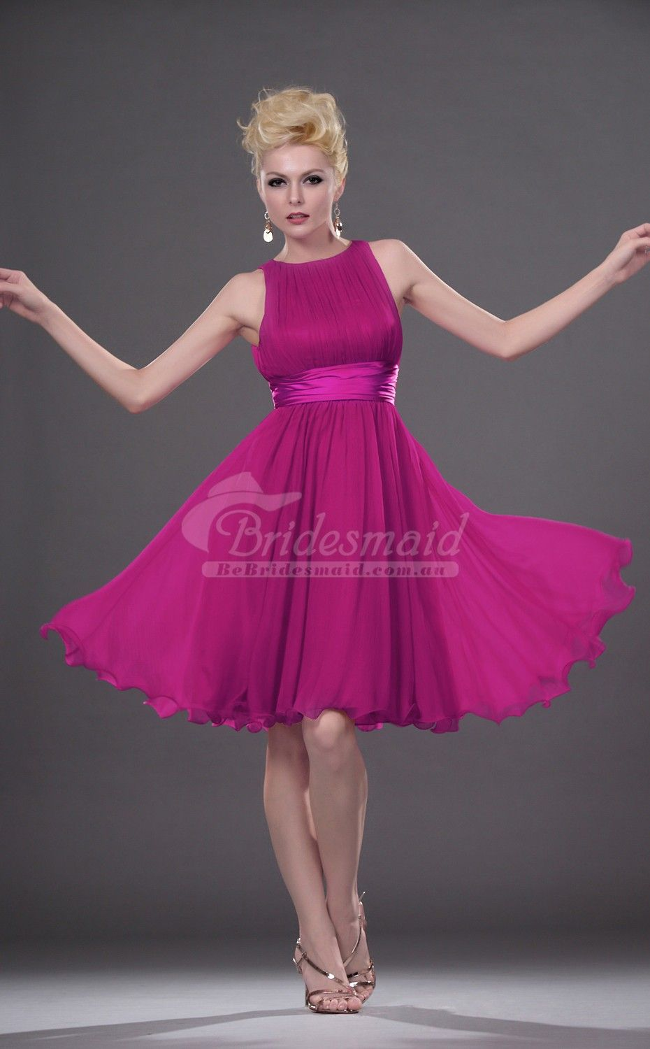 BeBridesmaid-Best Fuchsia Satin Chiffon Jewel Mini/Short Bridesmiad ...